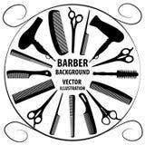 Bakgrund för barberare och frisör Stock Illustrationer