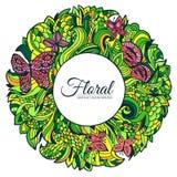 Bakgrund för begrepp för cirkel för runda för abstrakt konst för naturgräsplanklotter Vektorillustrationdesign av dekorativt mode Arkivbilder