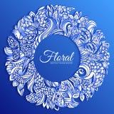 Bakgrund för begrepp för cirkel för runda för abstrakt konst för naturgräsplanklotter Vektorillustrationdesign av dekorativt mode Royaltyfria Bilder