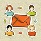 Bakgrund för begrepp för e-postmarknadsföringsaktion Arkivbild