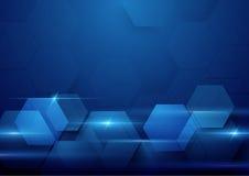 Bakgrund för begrepp för hög tech för blå abstrakt teknologi digital Arkivfoto