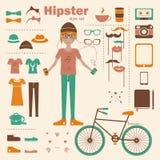 Bakgrund för begrepp för Hipsterflicka infographic med I Arkivfoto