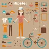Bakgrund för begrepp för Hipsterflicka infographic med I Arkivbild