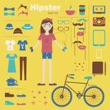 Bakgrund för begrepp för Hipsterflicka infographic med I Royaltyfri Bild