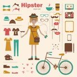 Bakgrund för begrepp för Hipsterflicka infographic med I Royaltyfria Foton