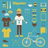 Bakgrund för begrepp för Hipsterpojke infographic med ic Arkivfoto