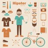 Bakgrund för begrepp för Hipsterpojke infographic med ic Arkivbild