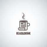 Bakgrund för begrepp för kaffekopp läs- Arkivfoton