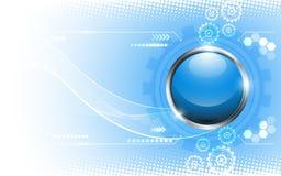 Bakgrund för begrepp för teknologi för mall för vektorabstrakt begreppknapp Royaltyfri Bild