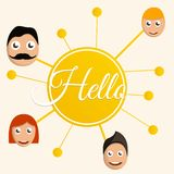 Bakgrund för begrepp för Hello folkgrupp, tecknad filmstil vektor illustrationer