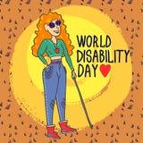 Bakgrund för begrepp för kvinna för rullgardin för världshandikappdag, utdragen stil för hand stock illustrationer