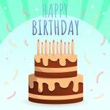 Bakgrund för begrepp för lycklig födelsedag för unge, tecknad filmstil stock illustrationer