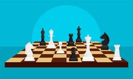 Bakgrund för begrepp för schackbrädelek, plan stil royaltyfri illustrationer