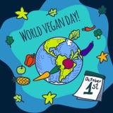 Bakgrund för begrepp för världsstrikt vegetariandag, hand dragen stil royaltyfri illustrationer