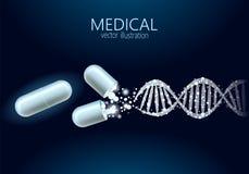 Bakgrund för behandling för genom för molekylär struktur för vetenskapsgenterapi medicinsk Bildande logomedicinmitt royaltyfri illustrationer