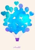 Bakgrund för beröm för ballong för varm luft för vattenfärgtappning festlig Royaltyfria Bilder