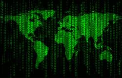 Bakgrund för binär kod med världskartan Royaltyfri Bild