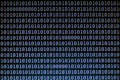 Bakgrund för binär kod på datorskärmen royaltyfri illustrationer