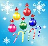Bakgrund för blått för band för snöflinga för julprydnadboll Stock Illustrationer
