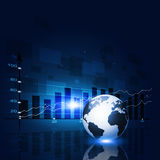 Bakgrund för blått för marknadsfinansdiagram Royaltyfria Bilder