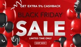 Bakgrund för Black Friday Sale banermall med röda och svarta ballons och conffeti Specialt erbjudande slut av säsongen, mall för  vektor illustrationer