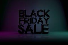Bakgrund för Black Friday Sale teknologi 3D med mörk bakgrund Royaltyfri Bild