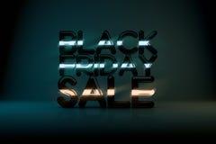 Bakgrund för Black Friday Sale teknologi 3D med neonglöd Royaltyfri Bild
