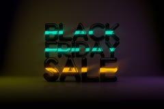 Bakgrund för Black Friday Sale teknologi 3D med neonglöd och Da Arkivfoto