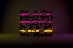 Bakgrund för Black Friday Sale teknologi 3D med neonglöd och Da Royaltyfri Fotografi