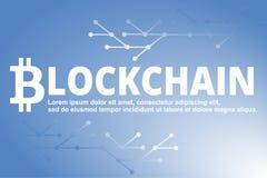 Bakgrund för Blockchain teknologiblått också vektor för coreldrawillustration royaltyfri bild