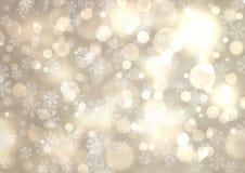 Bakgrund för bokeh för silvervinterabstrakt begrepp Arkivfoto
