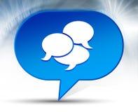 Bakgrund för bubbla för konversationsymbol blå arkivfoto