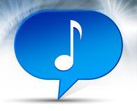 Bakgrund för bubbla för symbol för musikalisk anmärkning blå arkivbild