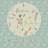 Bakgrund för cirkel för blommor för lycklig födelsedag för kort dekorativ Royaltyfri Fotografi