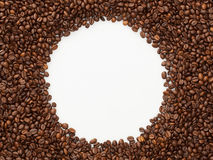 Bakgrund för cirkel för kaffebönor Arkivfoto