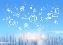 Bakgrund för Cityscape för sikt för skyskrapa för stad för anslutning för nätverk för samkvämMedia Communication internet Royaltyfri Foto