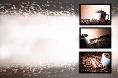 Bakgrund för collage (samling) av olika kaffebevekelsegrunder Royaltyfria Bilder