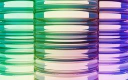 Bakgrund för cylinderfärgexponeringsglas Arkivfoton