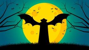 Bakgrund för dag för allhelgonaafton` s - Dracula spridningvingar som står på jordningsframdel månen Arkivbilder