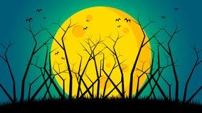 Bakgrund för dag för allhelgonaafton` s - träd på jordning beklär månen Royaltyfri Fotografi