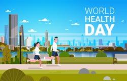 Bakgrund för dag för världshälsa med det jogga för man och sjukvård- och sportferiebanret för kvinna stock illustrationer