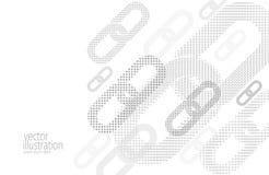 Bakgrund för dator för Blockchain hyperlinkrengöringsduk För frilägeabstrakt begrepp för vit pekar rastrerade prickar för den grå stock illustrationer