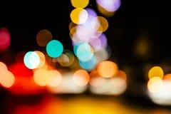 Bakgrund för defocused ljus för stadsnatt abstrakt Arkivfoton