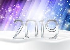 Bakgrund för det lyckliga nya året med nummer kura ihop sig i snö stock illustrationer