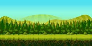 Bakgrund för dig spelar med den gröna skogen på förgrund och kullar och fält på bakgrund Arkivbild