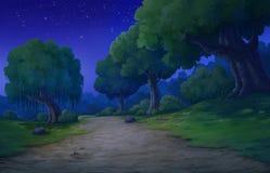 Bakgrund för djungel på nattetid vektor illustrationer