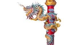 Bakgrund för drake för kinesisk stil isolerad staty Royaltyfria Bilder