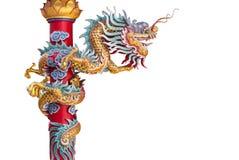 Bakgrund för drake för kinesisk stil isolerad staty Royaltyfri Foto