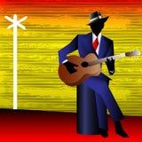 Deppighetgitarrist på tvärgatorna Arkivbild