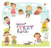 Bakgrund för en inskrift med gulligt spela för barn Royaltyfria Bilder